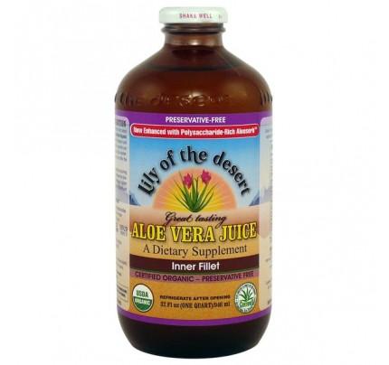 Organic Aloe Vera Inner Fillet Juice Preservative Free 32 fl. oz.