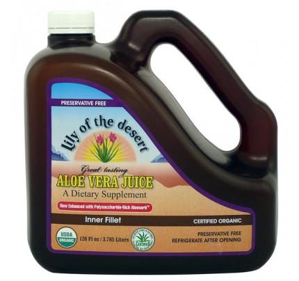 Organic Aloe Vera Inner Fillet Juice Preservative Free Gallon