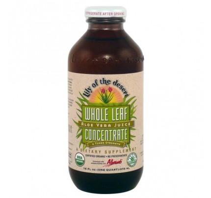 Organic Aloe Vera Juice Whole Leaf Concentrate 16 oz.