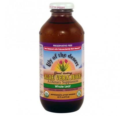 Organic Aloe Vera Juice Whole Leaf Preservative Free 16 oz.