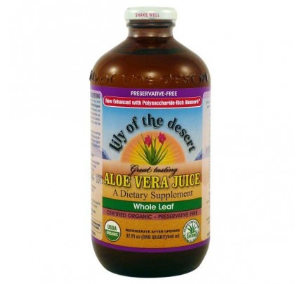 Organic Aloe Vera Juice Whole Leaf Preservative Free 32 oz.