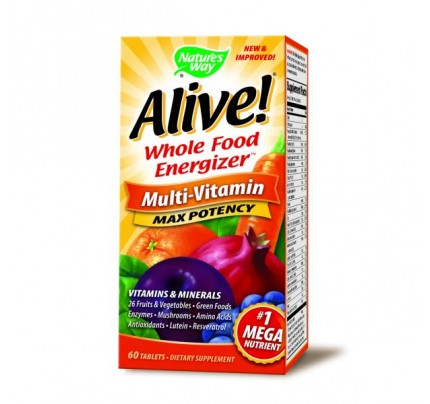 Alive! Max Potency Multivitamin with Iron 60 Tablets