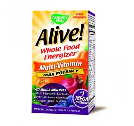Alive! Max Potency Multivitamin with Iron 90 Vegetarian Capsules