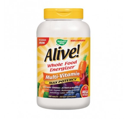 Alive! Max Potency Multivitamin, No Iron Added 180 Tablets