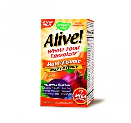 Alive! Max Potency Multivitamin, No Iron Added 30 Tablets
