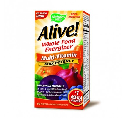 Alive! Max Potency Multivitamin, No Iron Added 60 Tablets