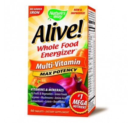 Alive! Max Potency Multivitamin, No Iron Added 90 Tablets
