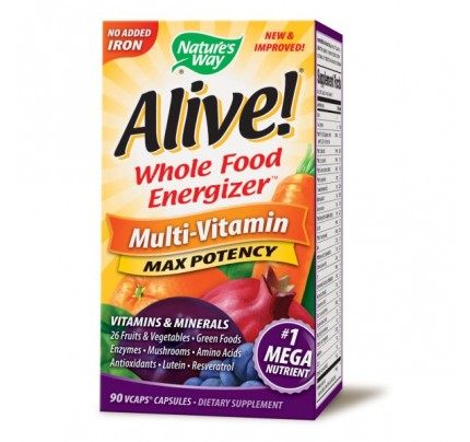 Alive! Max Potency Multivitamin, No Iron Added 90 Vegetarian Capsules