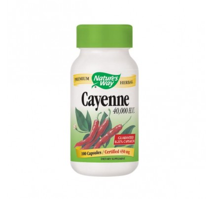 Cayenne Pepper Fruit 40,000 HU 450mg 100 Capsules