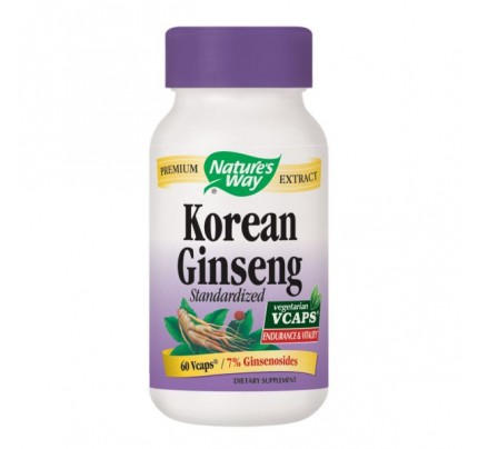 Korean Ginseng Standardized Extract 550mg 60 Vegetarian Capsules
