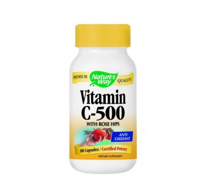 Vitamin C-500 with Rose Hips 600mg 100 Capsules