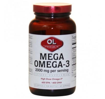 Mega Omega 3 Fish Oils 1,000mg (300 EPA 200 DHA) 120 Softgels