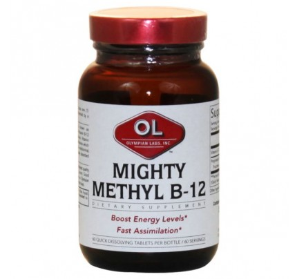 Mighty Methyl Vitamin B-12 Methylcobalamin Sublingual 500mcg 60 Tablets