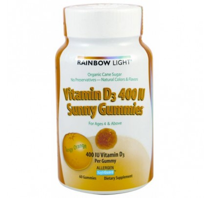Vitamin D-3 400 IU Sunny Gummies Tangy Orange 60 Gummies