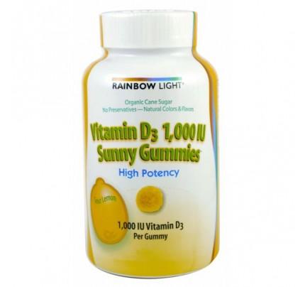 Vitamin D 1000 IU Sunny Gummies Sour Lemon 100 Gummies