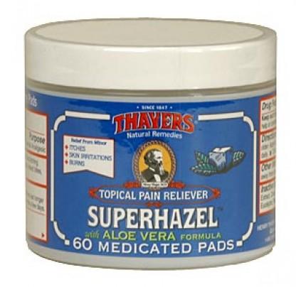 Witch Hazel Medicated Superhazel with Aloe Vera Astringent Pads 60 Pads