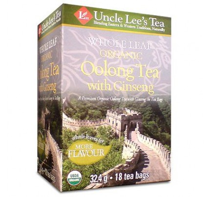 Whole Leaf Organic Oolong Tea with Ginseng Tea 18 Tea Bags