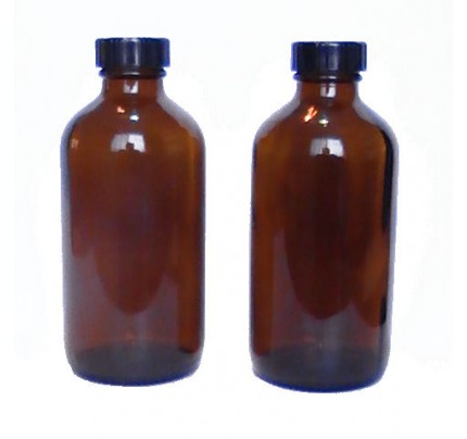 Storage Bottles 2 Glass Amber (8 fl. oz.) + 2 Caps