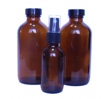 Storage Bottles 2 Glass Amber (8oz.) w/ 2 Caps & 1 Bottle w/ Spray Nozzle (2oz.)