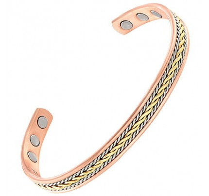 Positive Energy Copper 3-Magnet Bracelet with Braided Gold & Silver Inlay