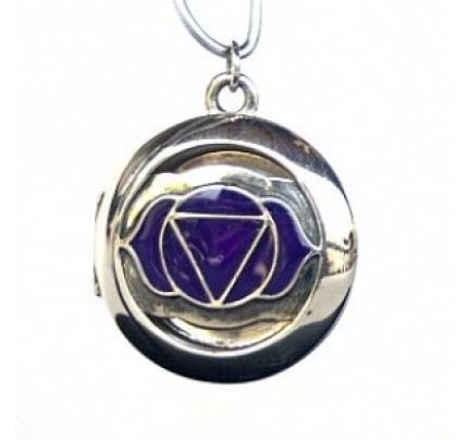 Aromatherapy Chakra Pendant Chakra 6, Third Eye - Sterling Silver, Purple