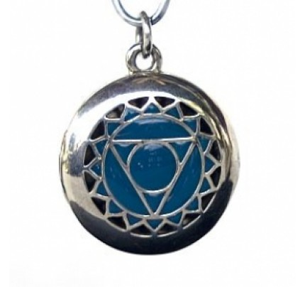 Aromatherapy Chakra Pendant Chakra 5, Throat - Sterling Silver, Blue
