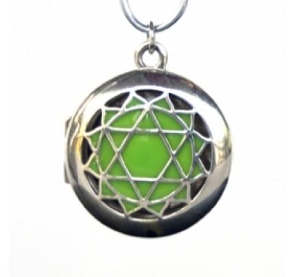 Aromatherapy Chakra Pendant Chakra 4, Heart - Sterling Silver, Green