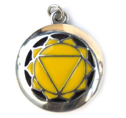 Aromatherapy Chakra Pendant Chakra 3, Solar Plexus - Sterling Silver, Yellow