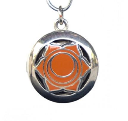 Aromatherapy Sacral Chakra Pendant Chakra 2, Sterling Silver, Orange