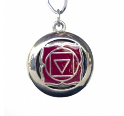 Aromatherapy Muladhara Root Chakra Red Inlay Sterling Silver Pendant