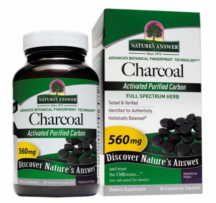 Charcoal Activated Purified Carbon 560 mg 90 Capsules
