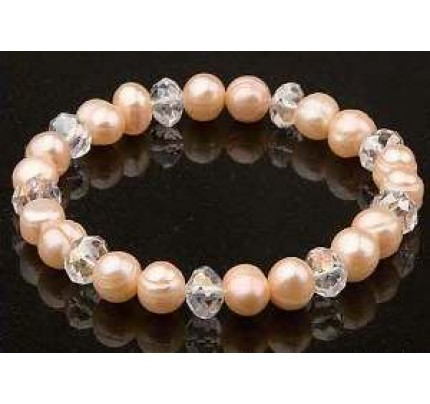 Keilani Pink Freshwater Baroque Pearls with White Crystal Bracelet