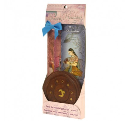 Incense Gift Set - Wood Round Burner + 3 Harmony Incense Packs (Bhairavi, Gaudi, Gaudmalhar) 30 Sticks