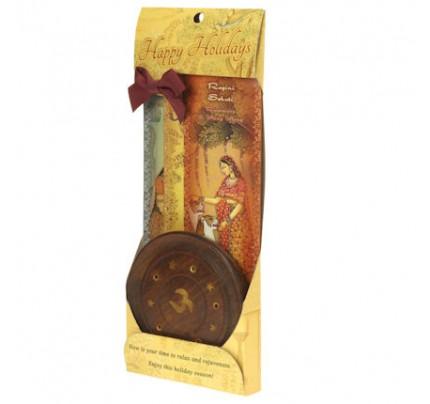 Incense Gift Set - Wood Round Burner + 3 Harmony Incense Packs (Madhumadhavi, Sehuti, Padmanjari) 30 Sticks