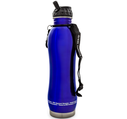 pH2O Purewater Stainless Steel Alkaline pH Water Filter Bottle Blue 27 fl. oz.