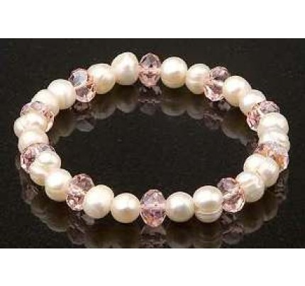 Keilani White Freshwater Pearls Pink Crystal Bracelet