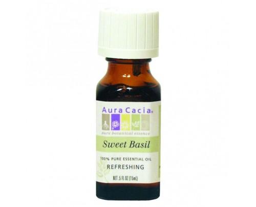 Aura Cacia Essential Oil Basil (Ocimum basilcum) 0.5oz.