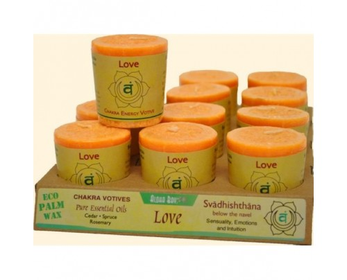 Aloha Bay Candle Chakra Votive Love (Svadhishthana) Orange 12-pack