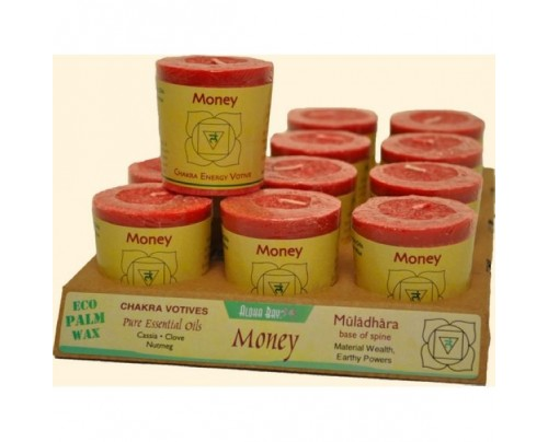 Aloha Bay Candle Chakra Votive Money (Muladhara) Red 12-pack
