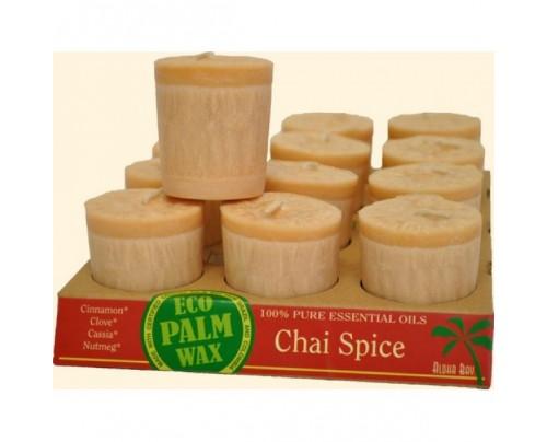 Aloha Bay Candle Votives Eco Palm Wax Chai Spice Light Brown 12-pack