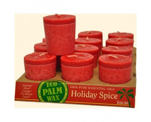 Aloha Bay Candle Votives Eco Palm Wax Holiday Spice Red 12-pack