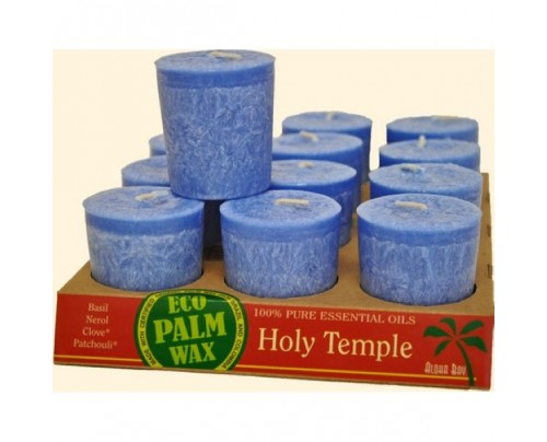 Aloha Bay Candle Votives Eco Palm Wax Holy Temple Blue 12-pack