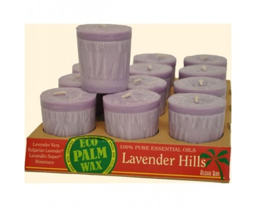Aloha Bay Candle Votives Eco Palm Wax Lavender Hills 12-pack