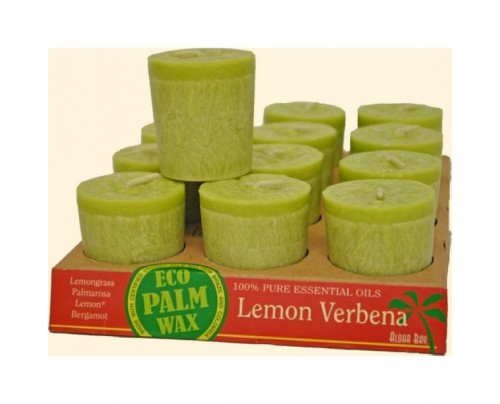 Aloha Bay Candle Votives Eco Palm Wax Lemon Verbena Melon 12-pack