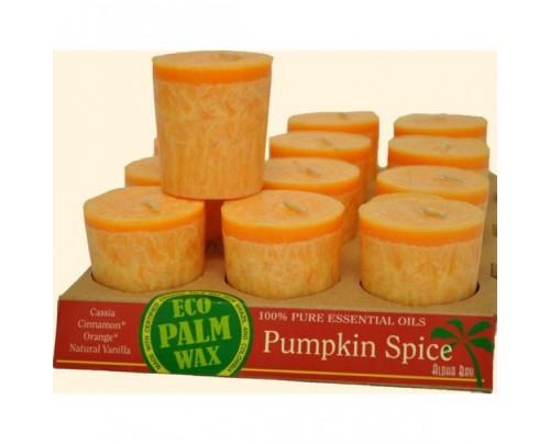 Aloha Bay Candle Votives Eco Palm Wax Pumpkin Spice Orange 12-pack