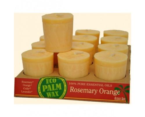 Aloha Bay Candle Votives Eco Palm Wax Rosemary Orange Peach 12-pack