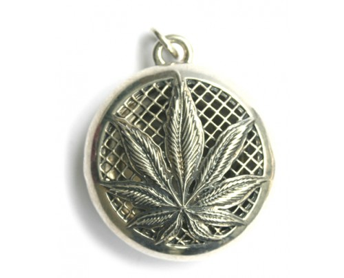 Earth Solutions Aromatherapy Jewelry - Scent Chamber Hemp Leaf Sterling Silver