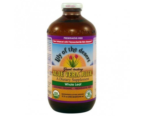 Lily Of The Desert Organic Aloe Vera Juice Whole Leaf Preservative Free 32 oz.