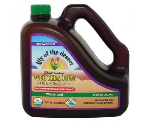Lily Of The Desert Organic Aloe Vera Juice Whole Leaf Preservative Free Gallon