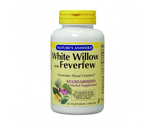 Nature's Answer White Willow with Feverfew Standardized 500mg 60 Vegetarian Capsules
